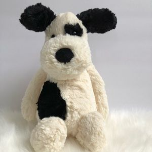 Jellycat bashful black & white dog 12""
